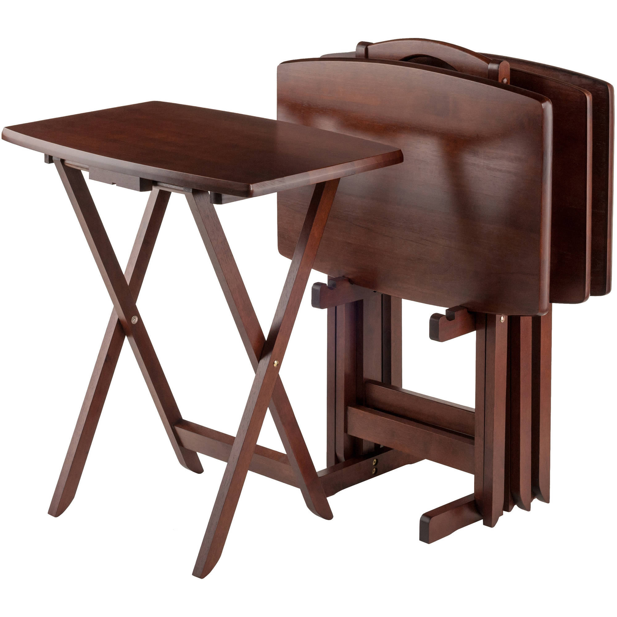 Set of 4 Portable Wood TV Table Folding Tray Desk Serving Furniture Walnut  New - Traveller Location