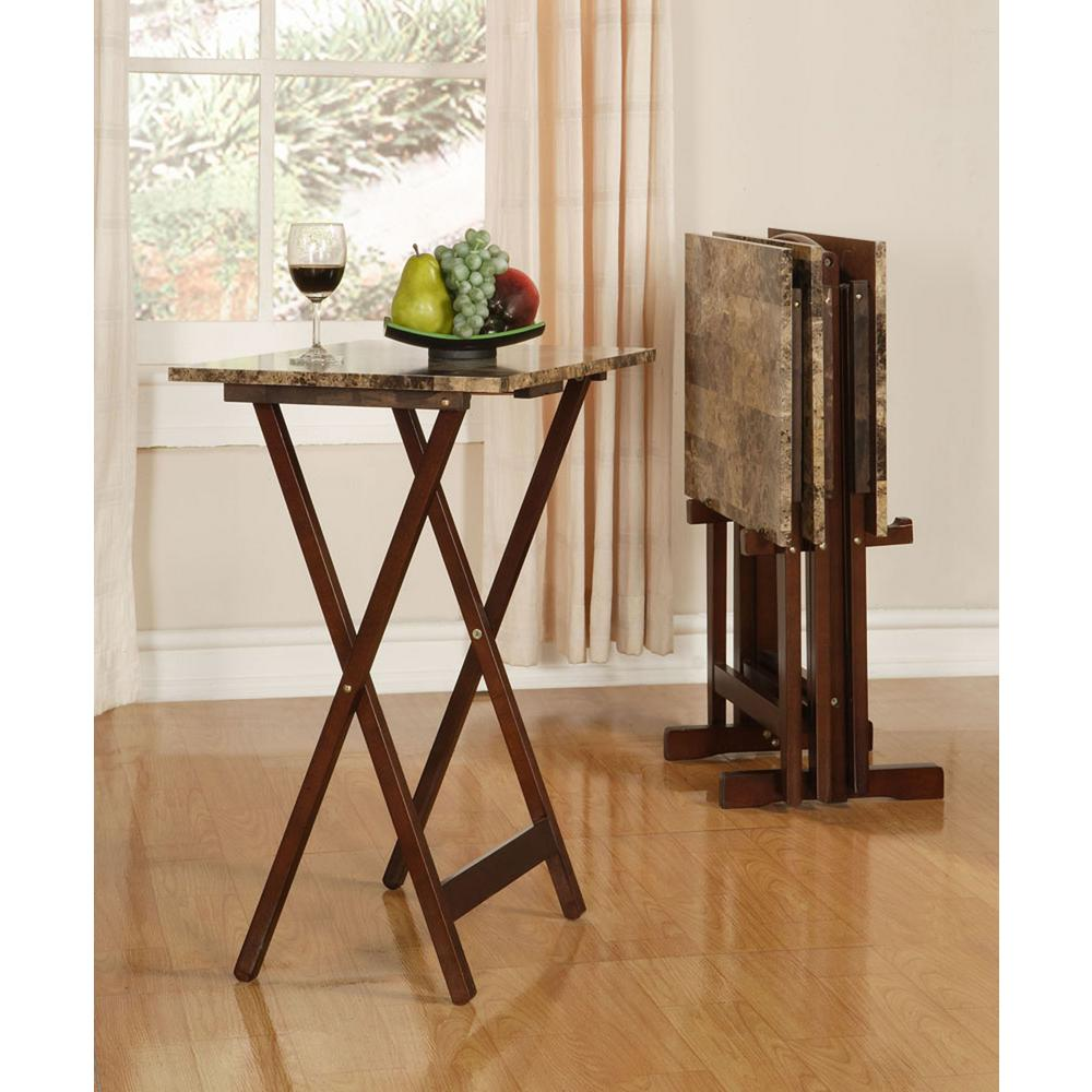Linon Home Decor Tray Table Set Faux Marble in Brown-43001TILSET-01-AS -  The Home Depot