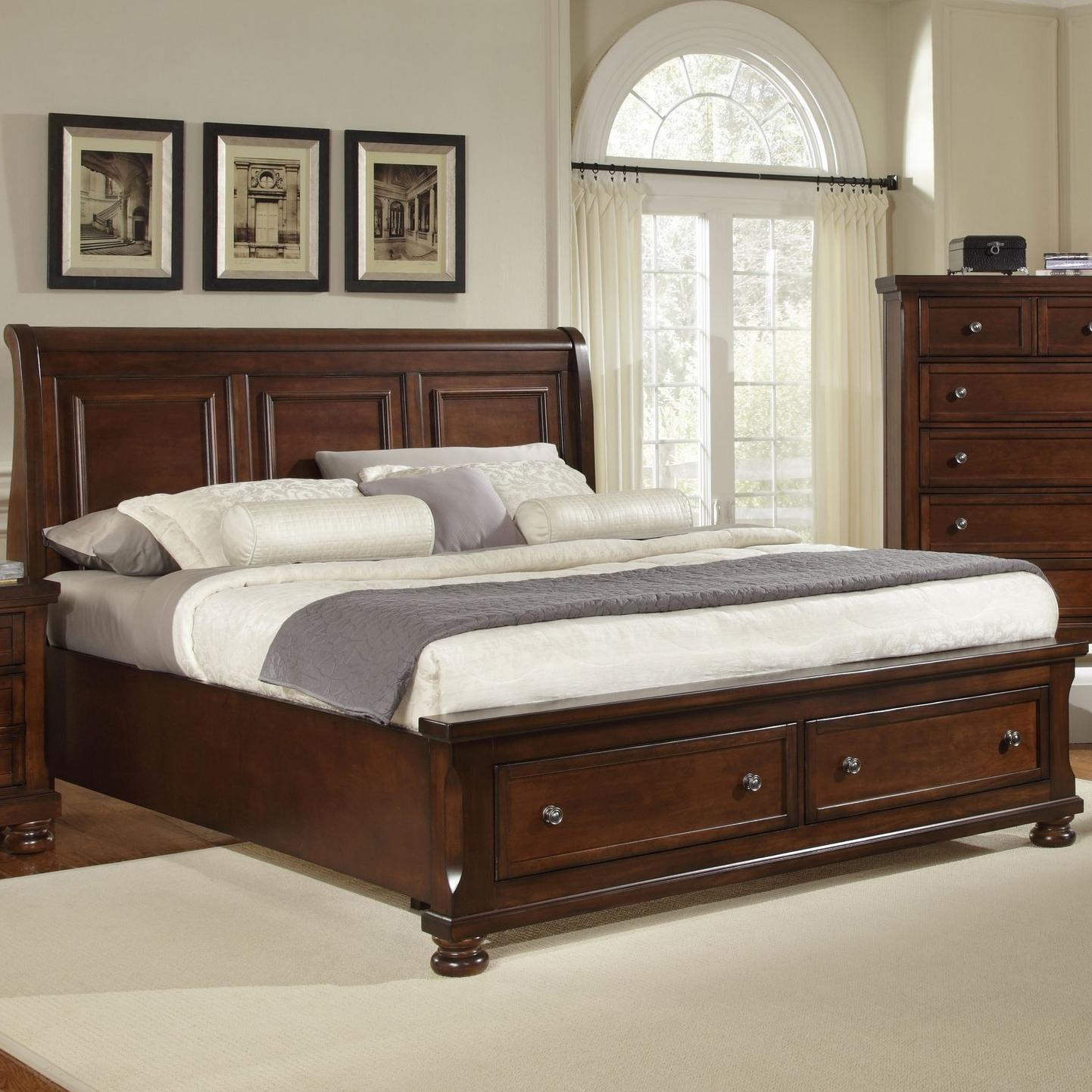 Vaughan Bassett Reflections King Storage Bed With Sleigh Headboard Within Frames  Drawers Decor 19