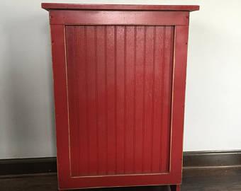 Primitive Wood Laundry Hamper, or Blanket Storage Cabinet