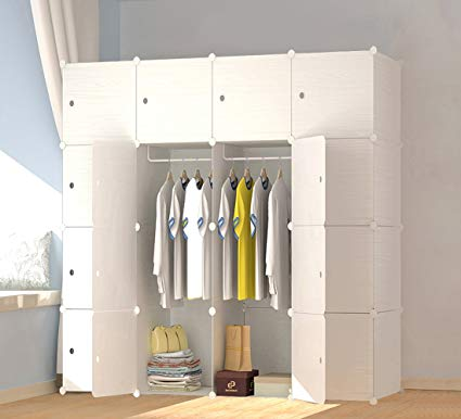 Traveller Location: JOISCOPE MEGAFUTURE Wood Pattern Portable Wardrobe Closet for  Hanging Clothes, Combination Armoire, Modular Cabinet for Space Saving,