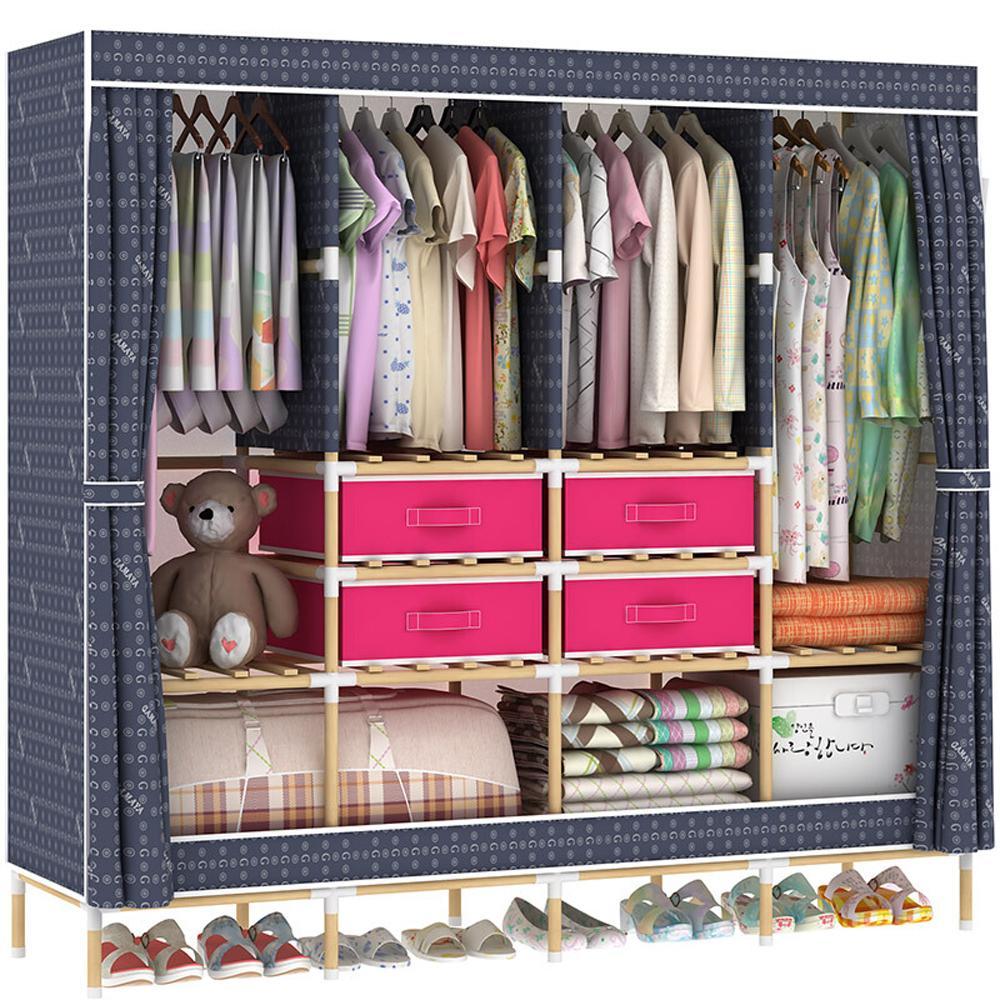 HHAiNi Huge Wooden Portable Closet 4 Rods Bedroom Wardrobe Storage Rack  Kit, Long Hanging Space, Free 4 Storage Boxes Wooden Wardrobe Portable  Wardrobe