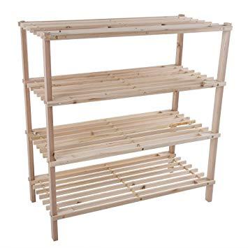 Lavish Home Wood Shoe Rack, Storage Bench u2013 Closet, Bathroom, Kitchen,  Entry Organizer, 4-Tier Space Saver Shoe Rack