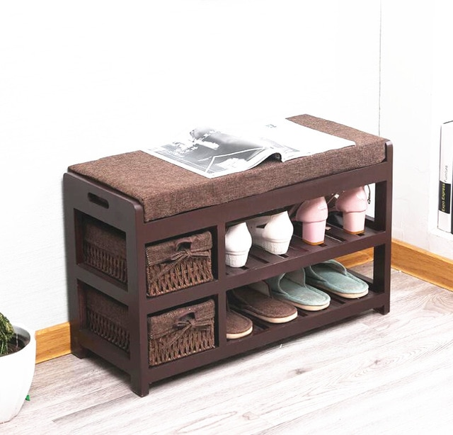 US $89.0 |Wooden Shoe Rack Storage Organizer & Hallway Bench Living Room  Cabinets for Shoe Home Entryway Shelf Stand Storage Ottoman -in Shoe  Cabinets