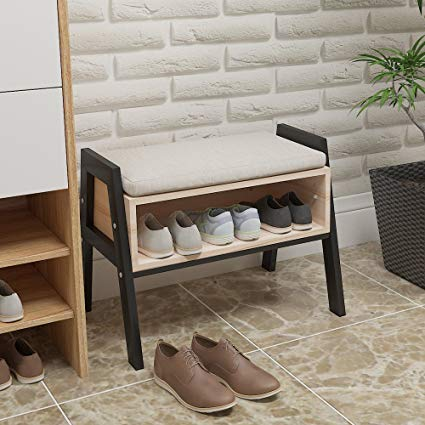 Ansley&HosHo Stackable Entryway Shoes Bench Seat Rack Wood Shoe Cabinet  with Storage for Hallway Modern Shoe Stool Small Space Door with Free  Cushion