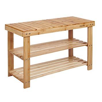HOMFA Natural Bamboo Shoe Rack Bench 2 Tier Shoe Organizer Entryway Seat  Storage Shelf Hallway Furniture(Q12-4)