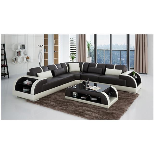 2018 Foshan Chinese Top Grain Leather wooden sofa set designs set di