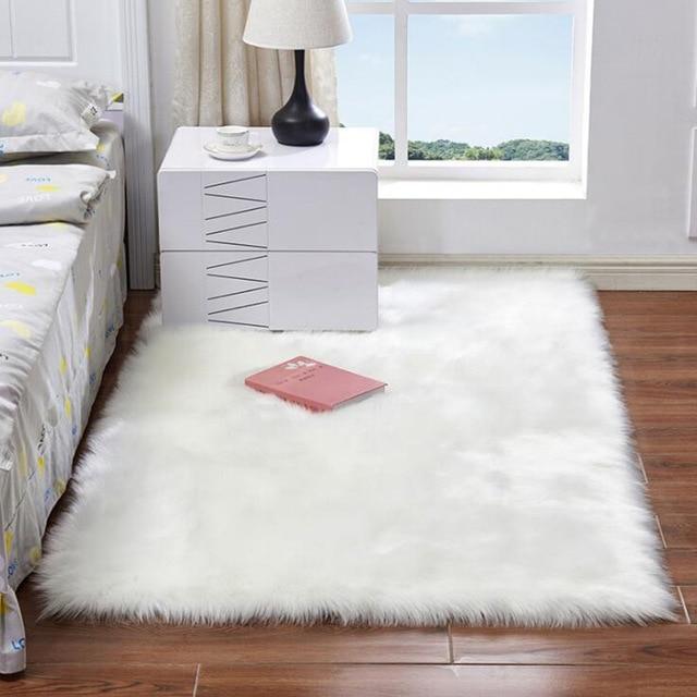 Artificial Sheepskin Plain Fluffy Rug Soft Home faux wool Carpet