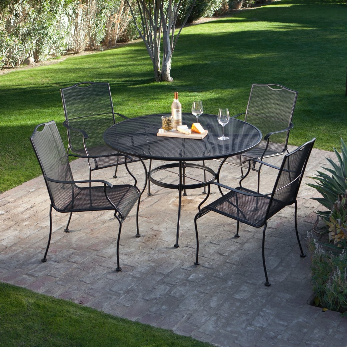 5-Piece Wrought Iron Patio Furniture Dining Set - Seats 4 |  Traveller Location