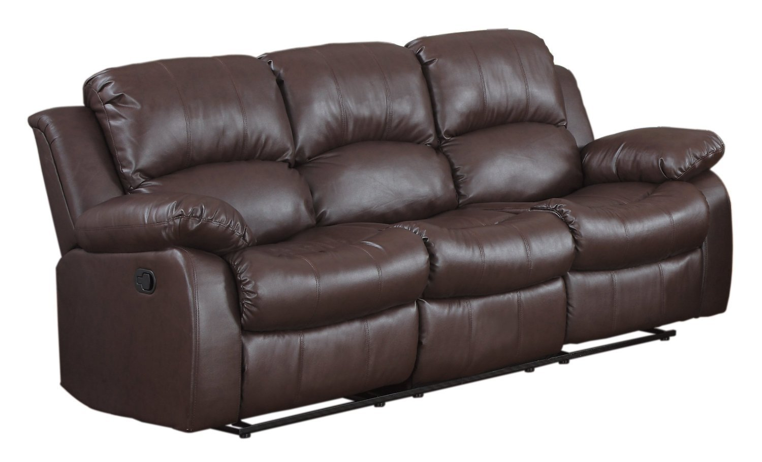 Contemporary Amazon.com: Bonded Leather Double Recliner Sofa Living Room Reclining Couch  (Brown): Kitchen 3 seater recliner leather sofa