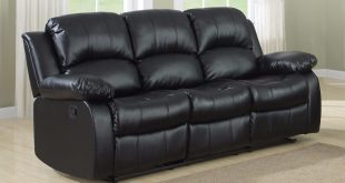 Elegant Classic 3 Seat Bonded Leather Double Recliner Sofa - Walmart.com 3 seater recliner sofa