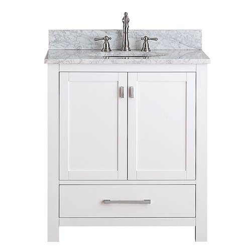 Simple Modero White 30-Inch Vanity Only 30 inch white bathroom vanity