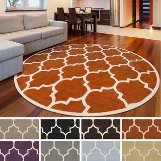 Trending 10 Round Area Rugs Brown Whine Trellis Pattern Vintage 6 foot round rug