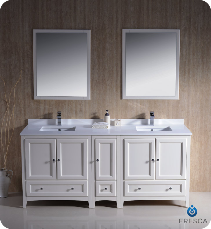 An attractive double sink vanity for an attractive bathroom