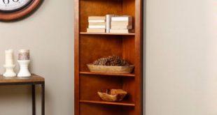 Amazing 4 Shelf Corner Oak Wood Bookcase For Office Den Tv Room Or Study wood corner bookcase