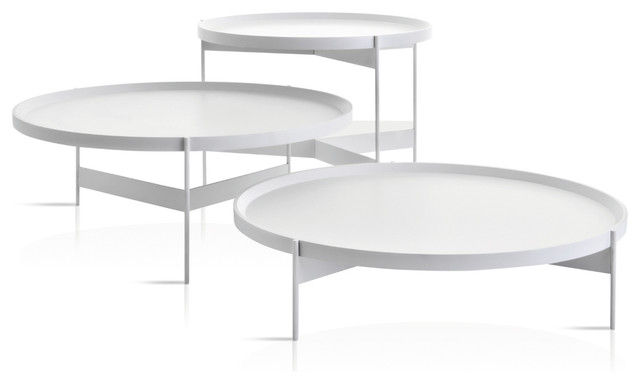 Amazing Abaco Modern Round Cocktail Table With Portable Tray, White Anti-Scratch,  Tall round contemporary coffee tables