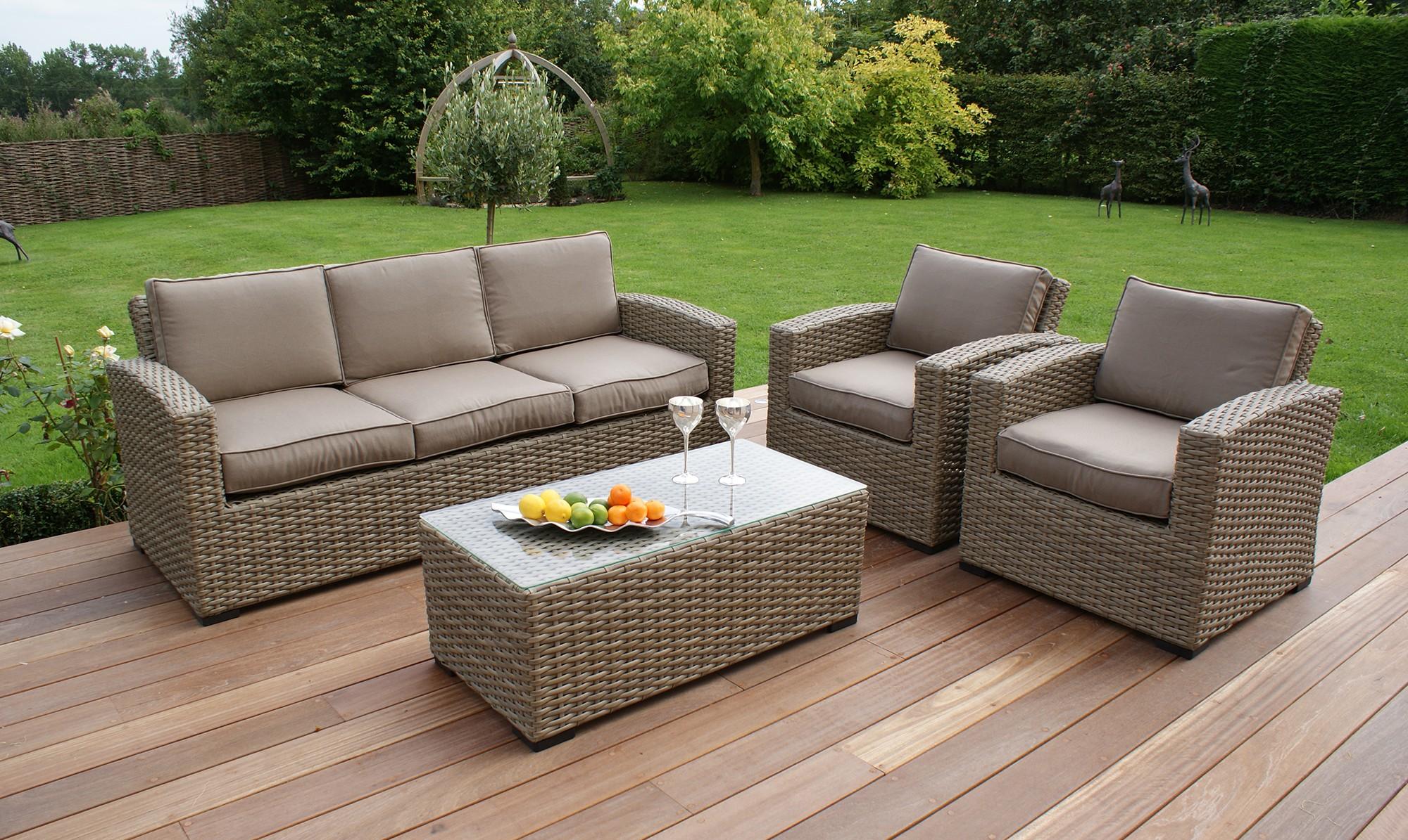Amazing Antilles Natural 3 Seater Rattan Sofa Set - Fishpools rattan sofa set