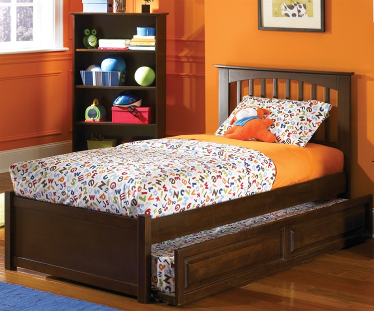 Amazing Atlantic Furniture Antique Walnut Brooklyn Trundle Bed Kids Bedroom  Furniture trundle beds twin size beds for kids
