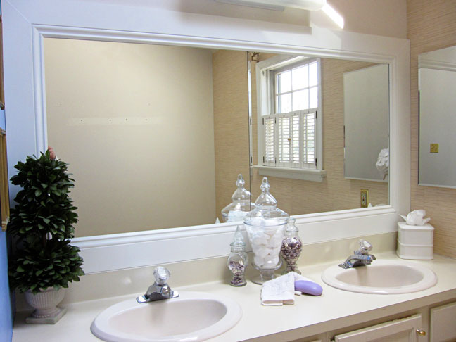Amazing bathroom mirror white frame large framed bathroom mirrors