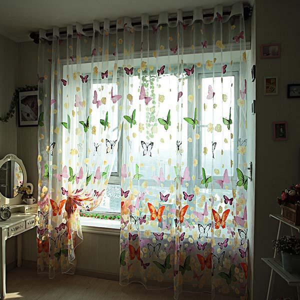 Amazing Butterfly Printed Sheer Window Curtains Tulle Door Window Screen sheer butterfly curtains