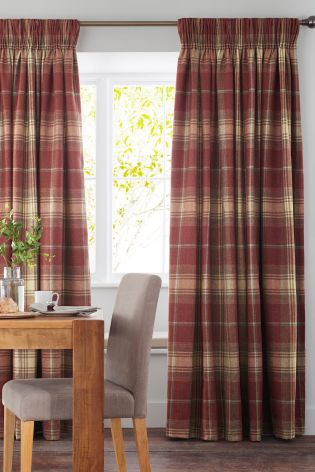 Amazing Buy Red Woven Check Stirling Pencil Pleat Curtains from the Next UK tartan pencil pleat curtains