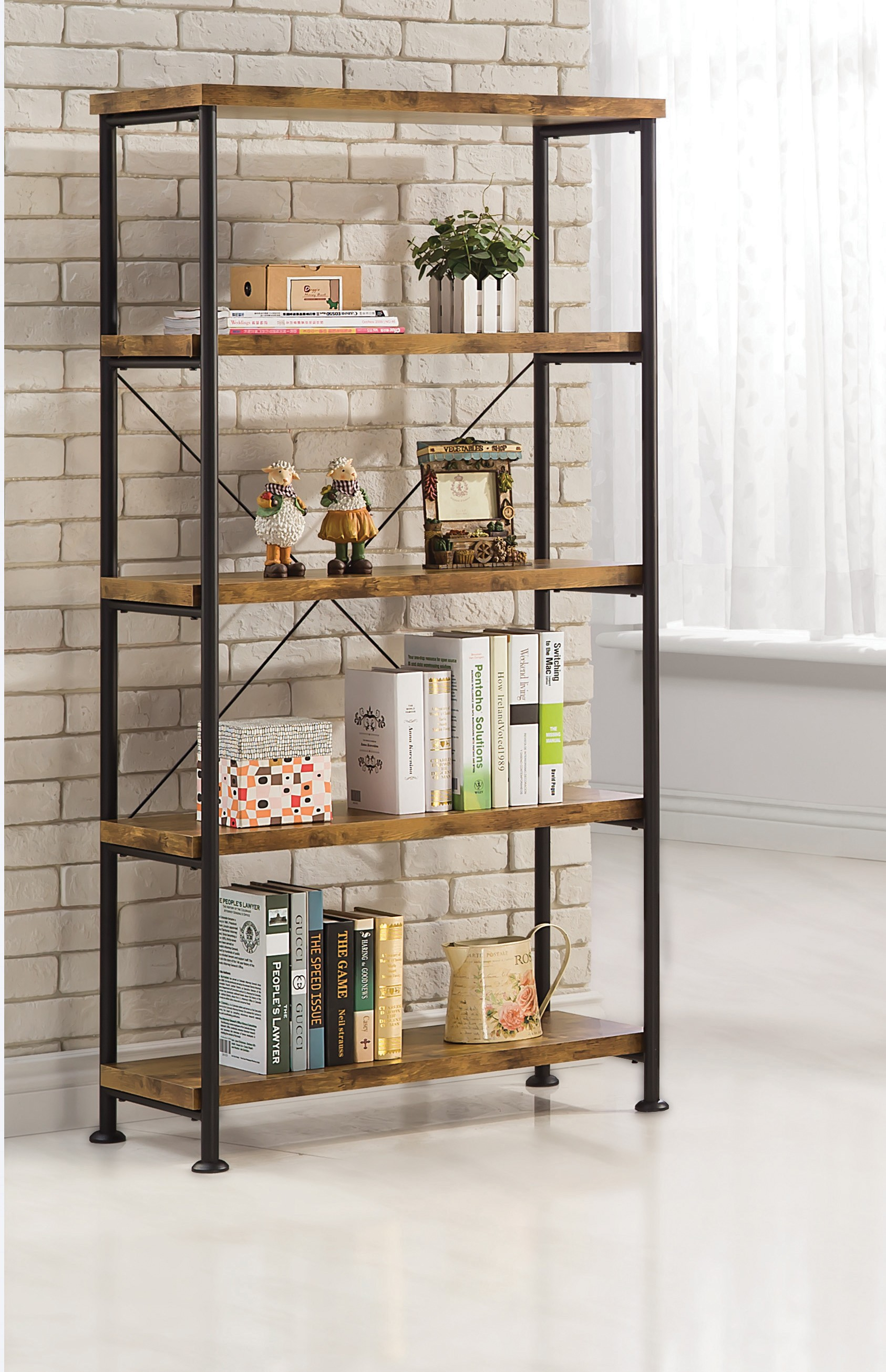 Amazing Coaster 801542 Barritt Antique Wood Metal Bookcase metal and wood bookcase