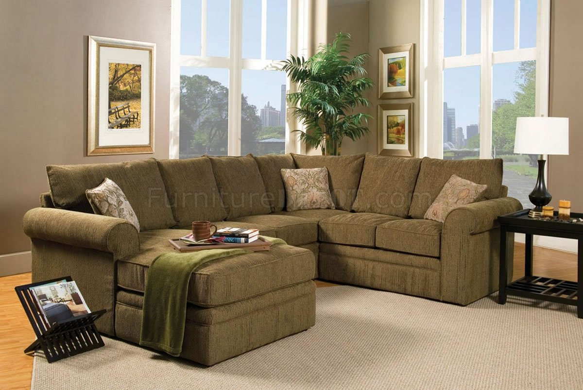 Amazing Contemporary Sectional Sofa and Ottoman Set in Chenille Fabric chenille sectional sofa
