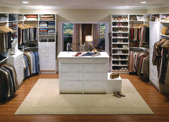 Amazing Custom Walk-In Closet Organizers: White contemporary-closet custom walk in closets