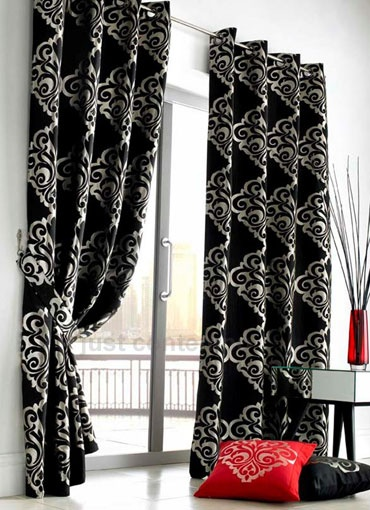 Amazing Damask Red and Silver Designer Eyelet Curtain. black and white curtains black and silver curtains