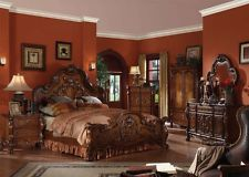 Amazing Formal Luxury Antique Dresden Cherry Eastern King Size 4pc Bedroom Set antique bedroom furniture