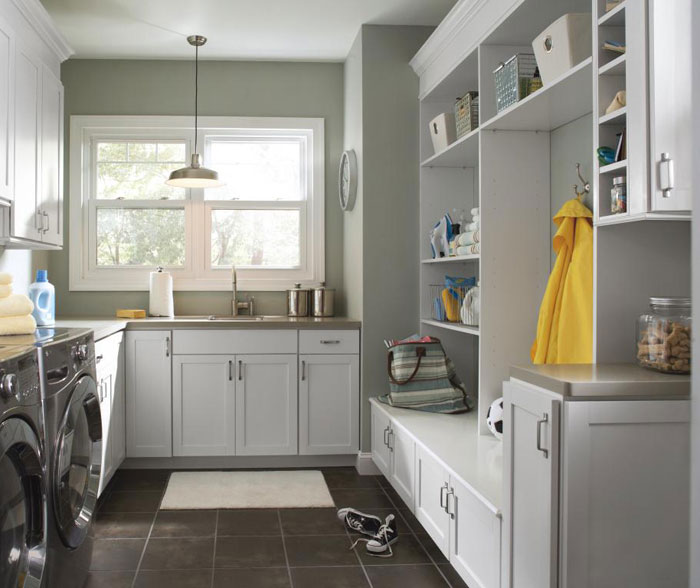 Amazing Grey laundry room mud white cabinets for laundry room