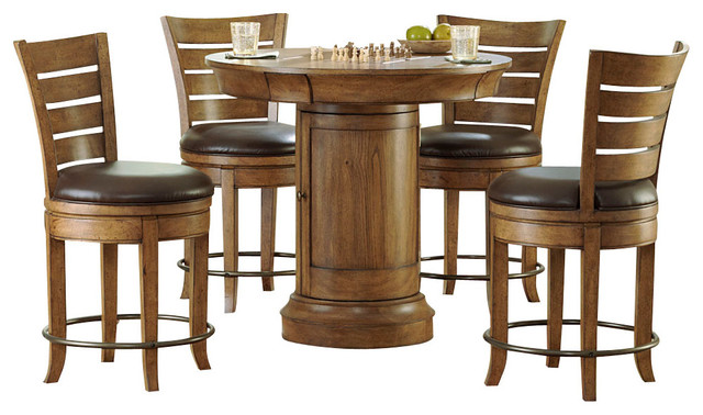 Amazing Hammary Hidden Treasures 5-Piece Round Pedestal Pub Table Set in Oak round pub table sets