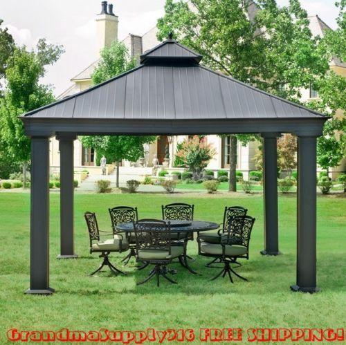 Amazing Have a lovely afternoon with your family in the shade of this metal patio gazebo