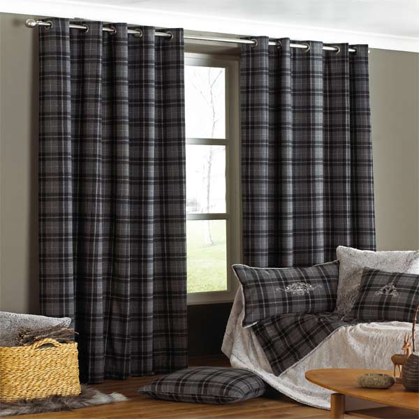 Amazing Image is loading Paoletti-Chamonix-Tartan-Check-Lined-Eyelet-Curtains -Charcoal grey tartan curtains