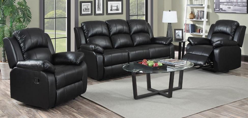 Amazing Jordan 3 + 1 + 1 Seater Black Recliner Leather Sofa Set black leather sofa set