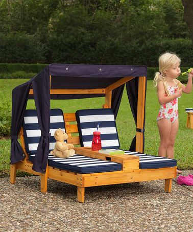 Amazing KidKraft Navy u0026 White Double Chaise Lounge Chair kids outdoor furniture