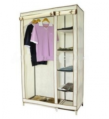 Amazing KMS Large Double Beige Canvas Wardrobe Steel Frame Non-woven Fabric Cover portable wardrobe with cover