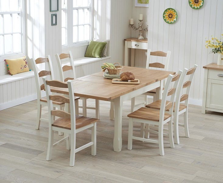 Amazing Mark Harris Sandringham Oak and Cream 130cm Extending Dining Set with 6 extending dining table and 6 chairs