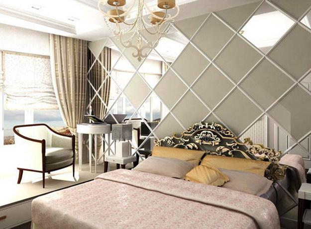 Amazing Modern bedroom decorating ideas, square shaped framed wall mirrors bedroom wall mirrors