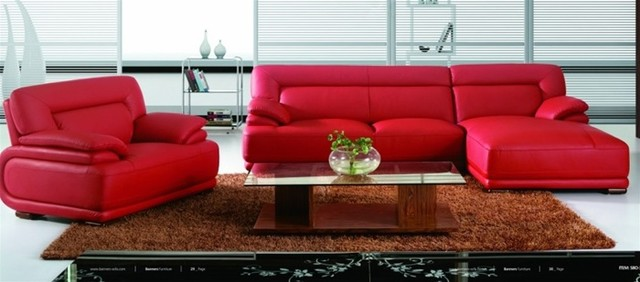 Amazing Modern Red Leather Sectional Sofa with Chair modern-living-room red leather sectional sofa