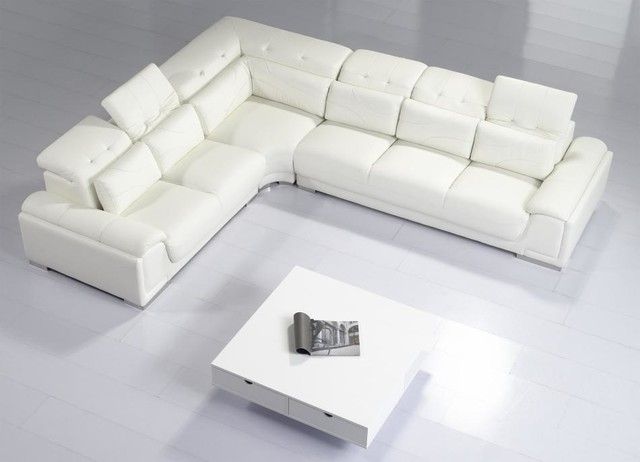 Amazing Modern White Leather Sectional Sofa with Adjustable Tufted Headrests  modern-living-room white leather sectional sofa