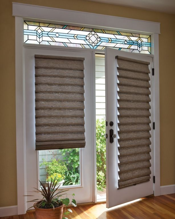 Amazing Roman shade on French door with Stained Glass window treatments for french doors to a patio