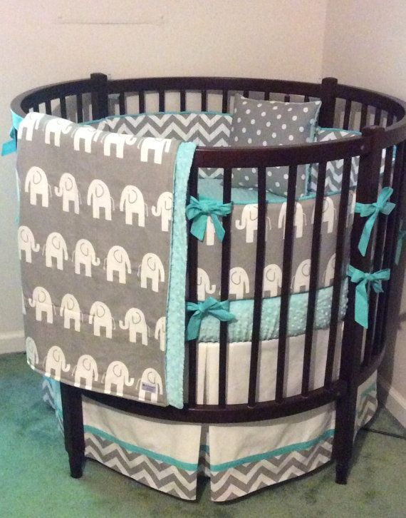 Amazing Round Crib Bedding Set Aqua Gray and White Elephants Deposit round baby cribs