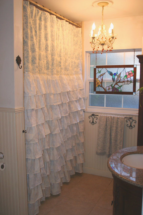 Amazing Ruffled Shower Curtain - French Country Toile french country shower curtains