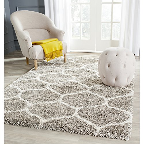 Amazing Safavieh Hudson Shag Collection SGH280B Grey Background and Ivory Area Rug,  6 soft plush area rugs
