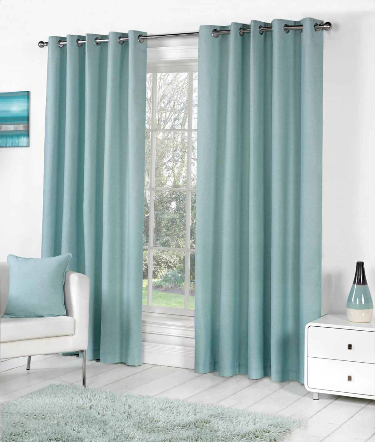 Amazing Sorbonne Ready Made Lined Eyelet Curtains duck egg blue curtains