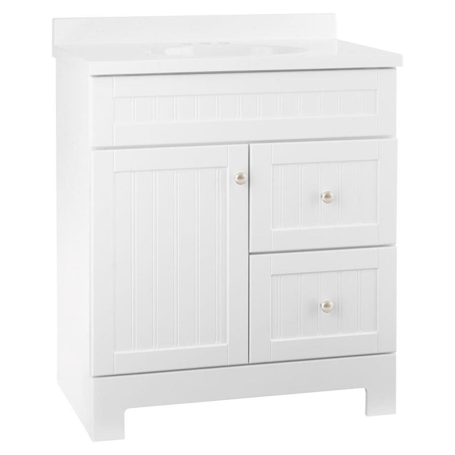 Amazing Style Selections Ellenbee 31-in White Integral Single Sink Bathroom Vanity  with Cultured 30 inch white bathroom vanity