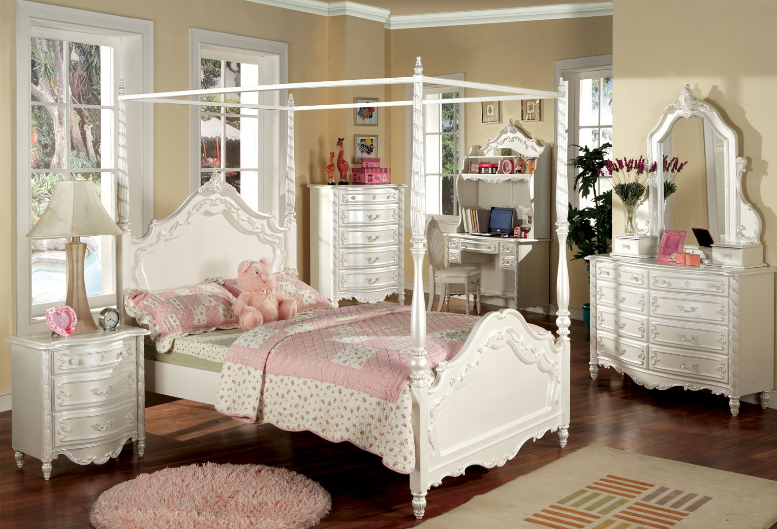 Amazing The Perle de Culture Childrenu0027s Canopy Bed Set - Youth Bedroom Furniture. white childrens bedroom furniture