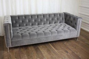 Amazing Tufted couch in GREY! Coco Designs. gray tufted sofa