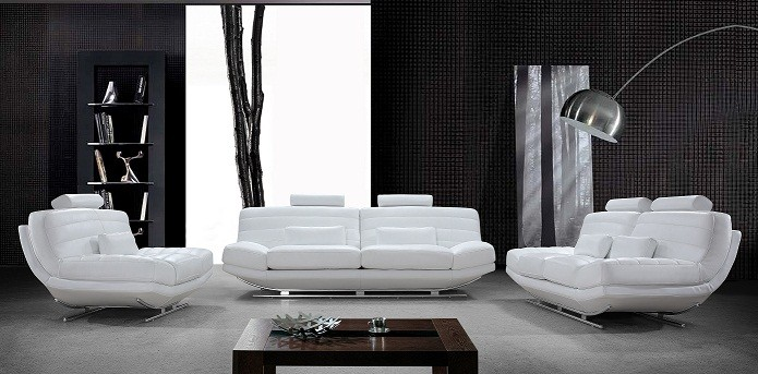 Amazing Viper Modern White Bonded Leather Sofa Set contemporary white leather sofa